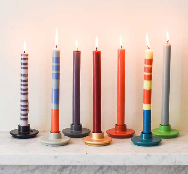 BRITISH COLOUR STANDARD colourful striped and solid colour candles and wooden candleholders,  Made From Waste Wood and wooden off-cuts