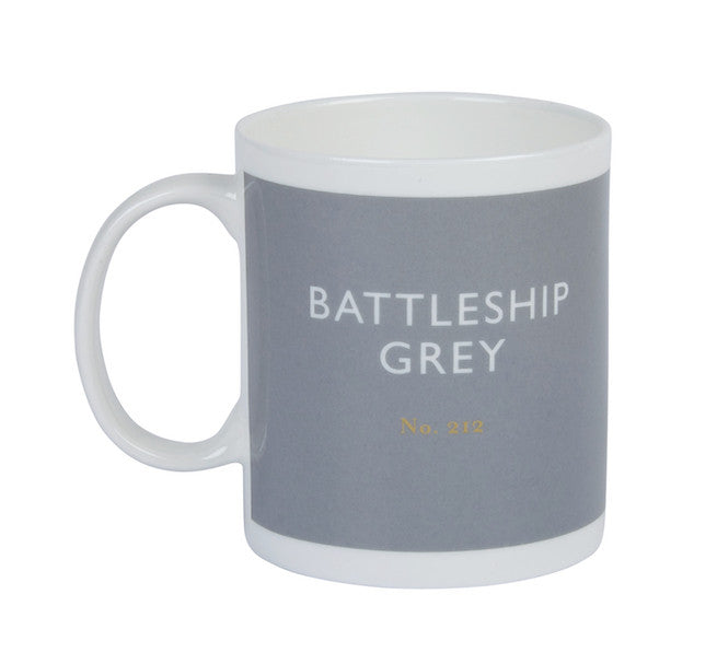 British Colour Standard BCS Battleship Grey Mug, White Bone China, made in UK