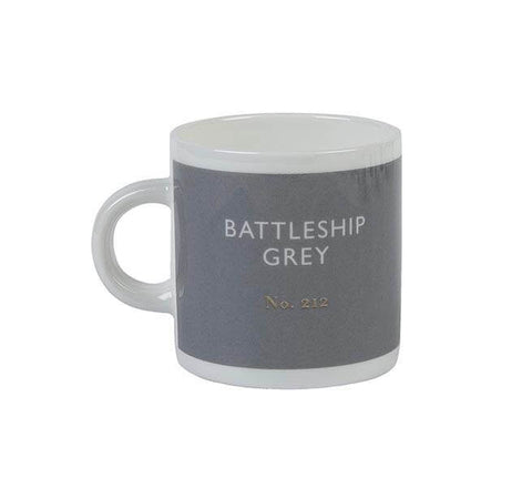 British Colour Standard BCS Battleship Grey Espresso Coffee cup, White Bone China,