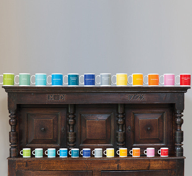 Colourful British Colour Standard BCS Mugs and Espresso Coffee cups, Colour council dictionary. White Bone China