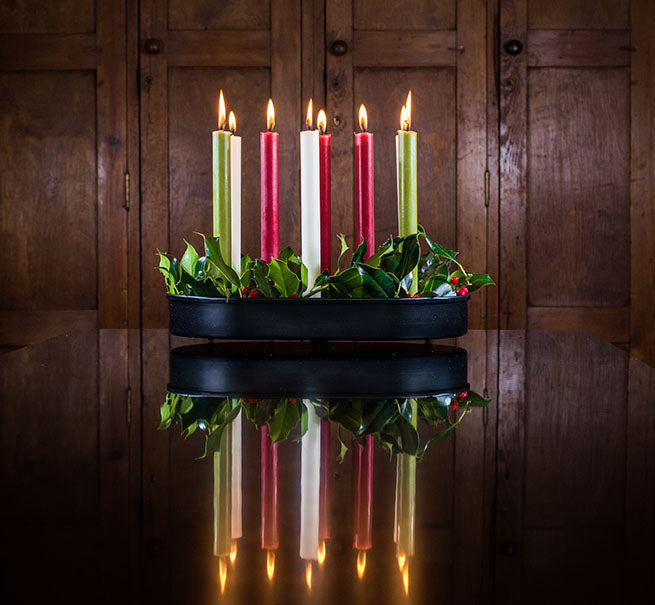 BRITISH COLOUR STANDARD - Oval Metal Candle Platter in Jet Black