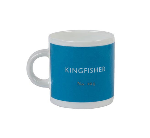 British Colour Standard BCS Kingfisher Blue Espresso Coffee cup, White Bone China,
