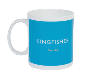 British Colour Standard BCS Kingfisher Blue Mug, White Bone China,