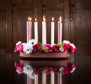 BRITISH COLOUR STANDARD Striped and solid colour Eco Dinner Candles, metal Candle Platter Centrepiece
