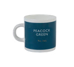 British Colour Standard BCS Peacock Green Espresso Coffee cup, White Bone China,