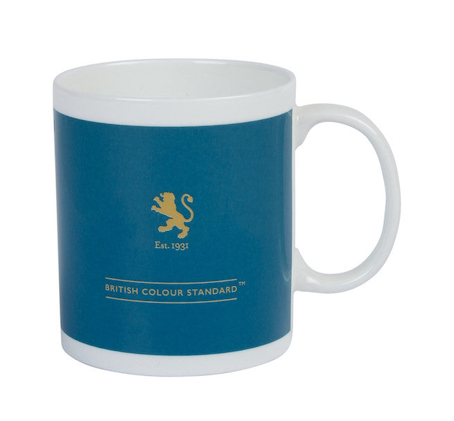 British Colour Standard BCS Peacock Green Mug, White Bone China,