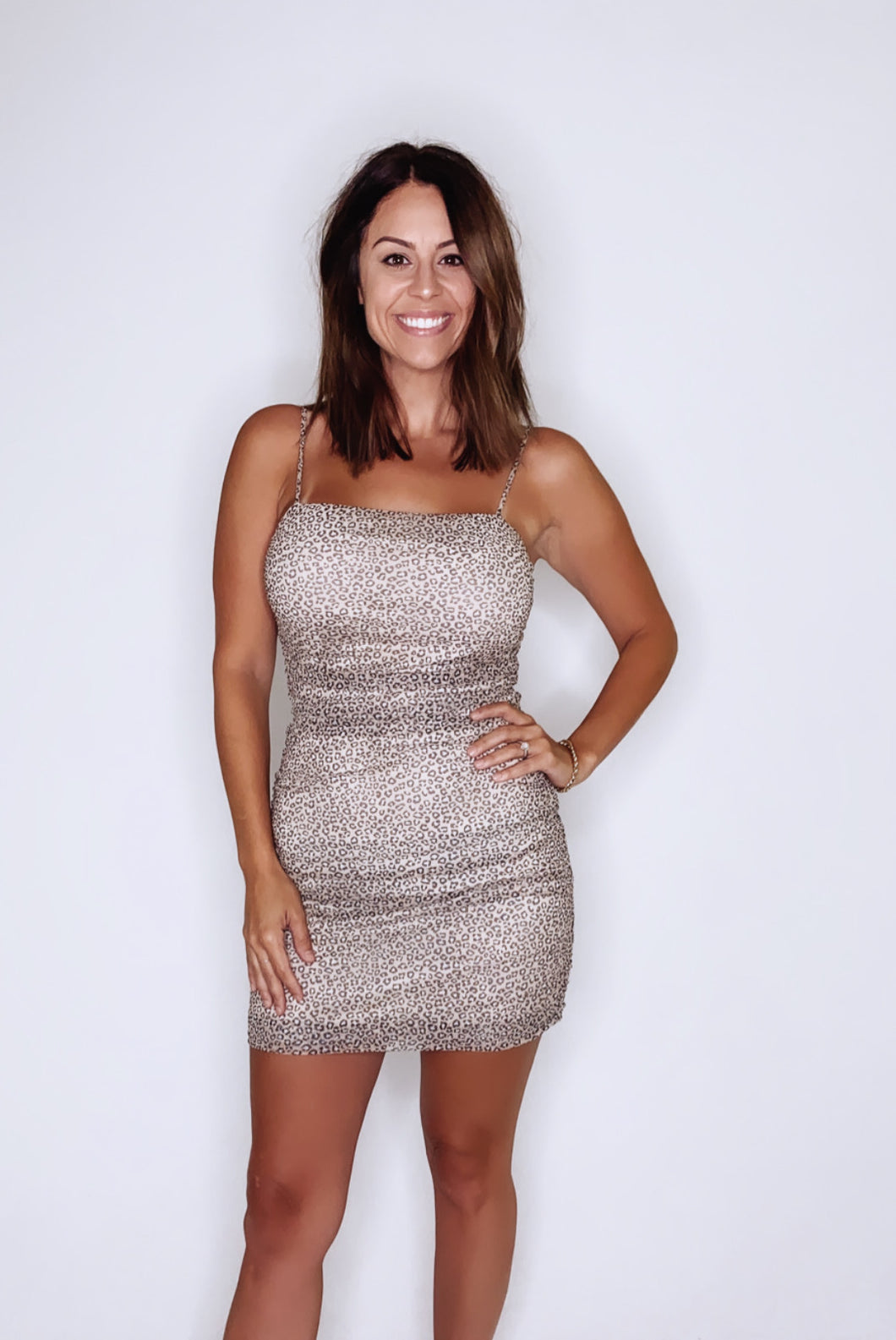 TAUPE LEOPARD MINI DRESS