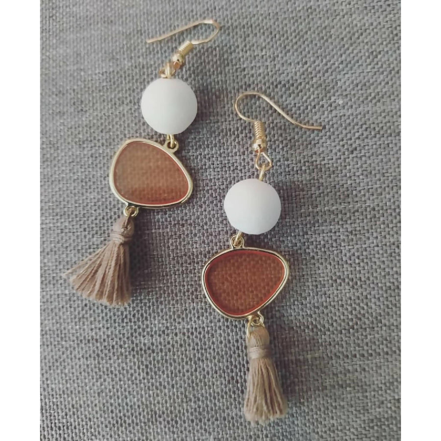 Earrings with white concrete bead & crystal