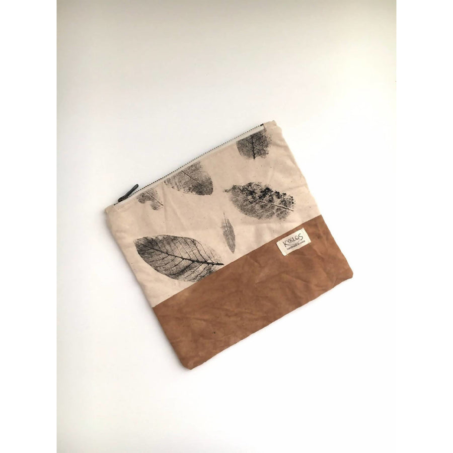 Medium fold over clutch// cotton botanical printed pouch // eucalyptus dye purse