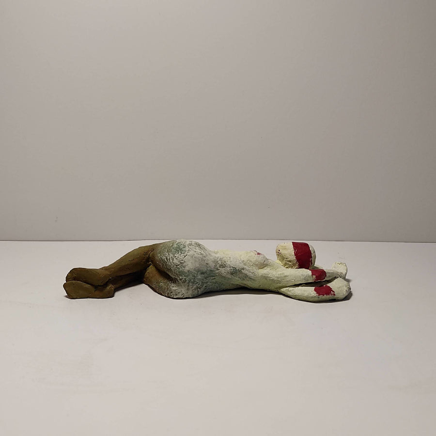 Female nude, model figurine, original clay sculpture, handmade, powder pigments - Lying backwards on a cusion #4