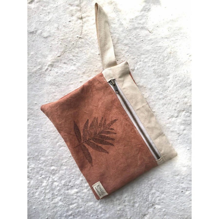 Wristlet clutch // naturally dyed // fern printed