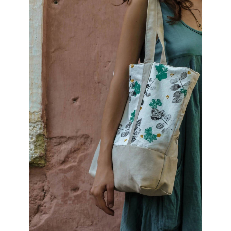 Large tote bag, botanically printed // cotton bag