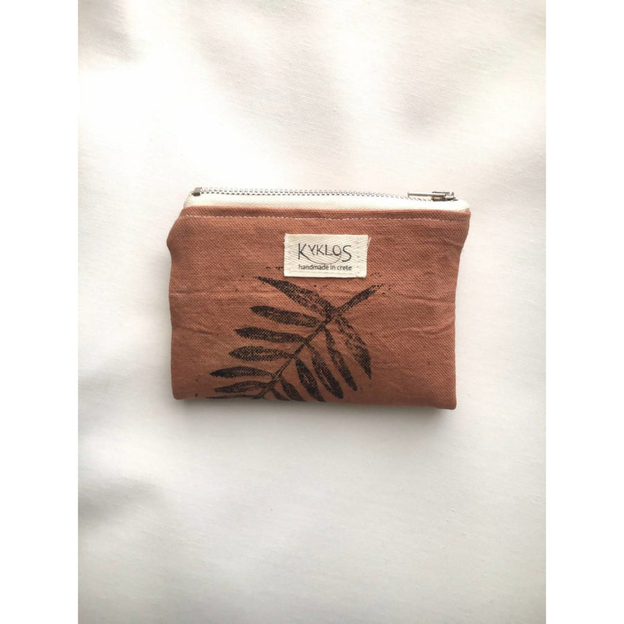 small wallet// card holder// naturally dyed // linoprinted