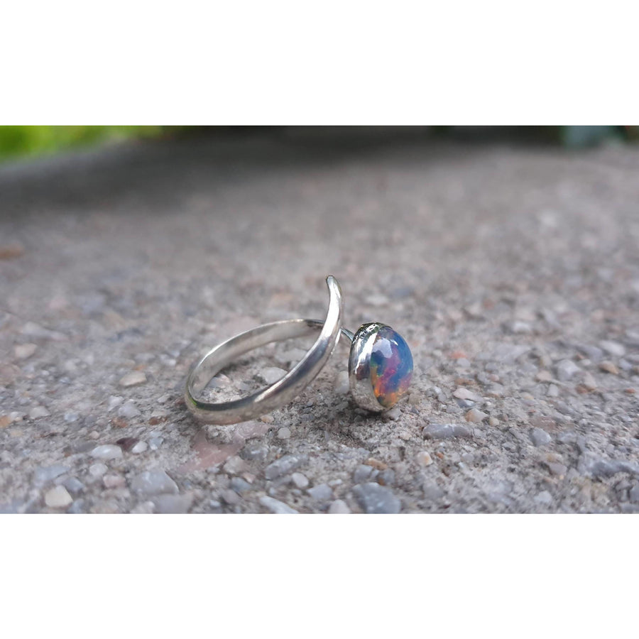 """Lollipop Fire Opal"" Sterling Silver 925 Ring"