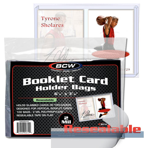 BCW BOOKLET CARD HOLDER VERTICAL - RESEALABLE BAGS