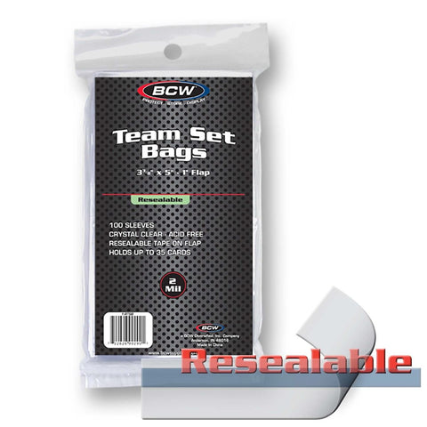 BCW RESEALABLE TEAM SET BAGS - 3 3/8 X 5