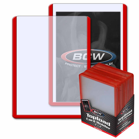 BCW TOPLOAD HOLDER - 3 X 4 - RED BORDER