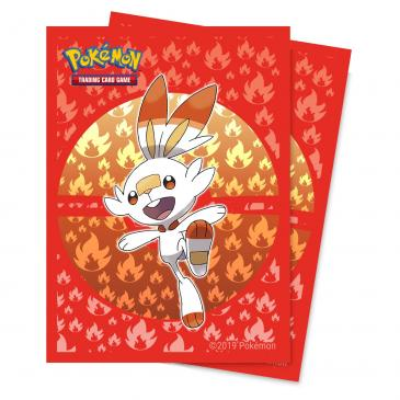 Sword and Shield Galar Starters Scorbunny Deck Protector sleeve 65ct for Pokémon
