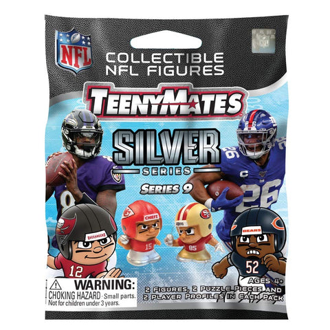 TeenyMates Party Animal 2020 NFL Series 9 Pack Silver Mini Figures Blind Bag