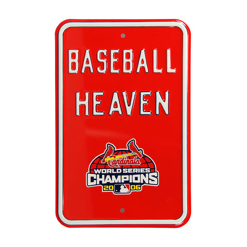 St Louis Cardinals Steel Parking Sign with Logo-BASEBALL HEAVEN w/WS Logo