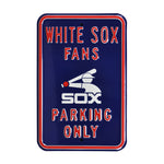 Chicago White Sox Steel Parking Sign with Logo-FANS PARKING w/ Batterman Logo
