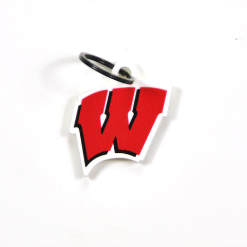 Wisconsin Badgers Laser Cut Logo Steel Key Ring-Motion W