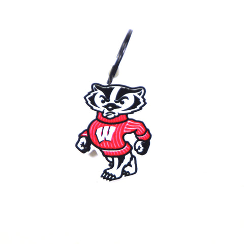 Wisconsin Badgers Laser Cut Logo Steel Key Ring-Bucky