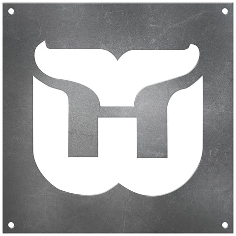 Hartford Whalers Laser Cut Raw Steel Sign Statement Size-Primary Logo