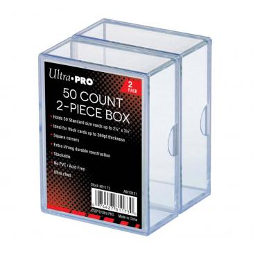 2-Piece 50 Count Clear Card Storage Box, 2 Pack