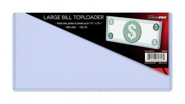 "7-13/16"" x 3-7/16"" Large Bill Toploader 25ct"