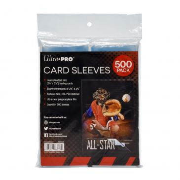 "Clear Card Sleeves for Standard Size Trading Cards - 2.5"" x 3.5"" (500 count retail pack)"