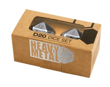 Heavy Metal D20 2-Dice Set - Chrome