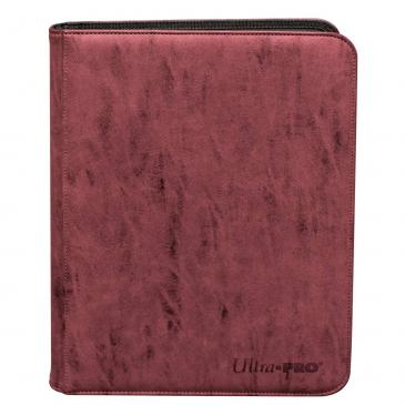 Suede Collection Zippered 9-Pocket Premium PRO-Binder - Ruby