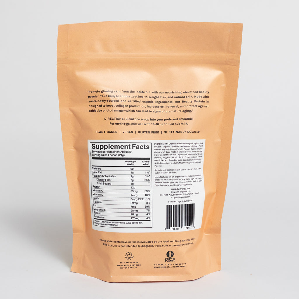 Hint of Chocolate Organic Beauty Protein Packaging Back Nutrition Panel