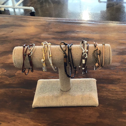 Double Wrap Leather Hook Bracelet