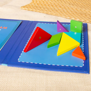 Magnetic Tangram Puzzle Book Portable Preschool Baby Kids Toys Intelligence Jigsaw Puzzle Wooden Educational Toys for Children
