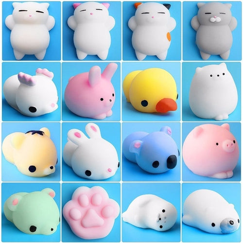 10Pcs/set Mini Animal Toy For Baby Cat Soft Cute Sticky Antistress Ball Squeeze Rising Toy For Children Kids Stress Relief Gift