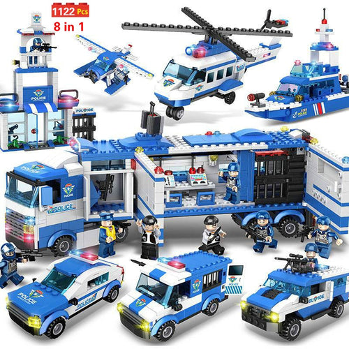 1122pcs 8IN1 SWAT City Police Truck Car Building Blocks Compatible Lepining City Police Station Bricks Toys for Boys Children