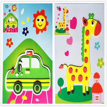 Load image into Gallery viewer, 4PCS 3D Stickers toys for Children puzzle paper self adhesive handicraft education Stickers Handmade DIY Toys for kids Creative