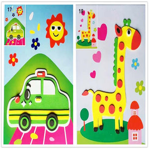 4PCS 3D Stickers toys for Children puzzle paper self adhesive handicraft education Stickers Handmade DIY Toys for kids Creative