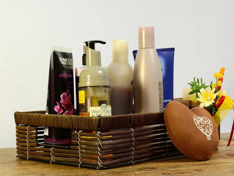 A gift basket with luxury spa products
