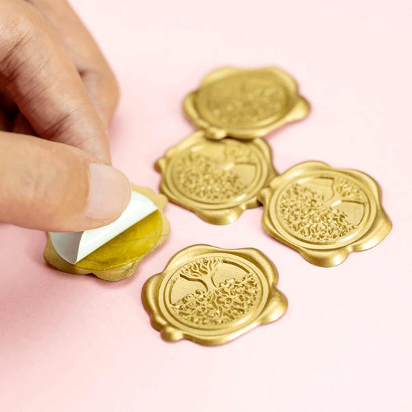 Self Adhesive Wax Seal Sticker DIY Your Initials with Date - Style 340-25MM