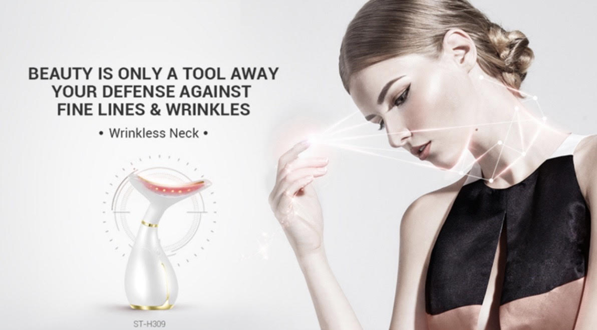 Patented Multi-function Ultrasound Photon LED Light Therapy For Neck Wrinkle, Decolletage & Face Care Device (AU Stock)