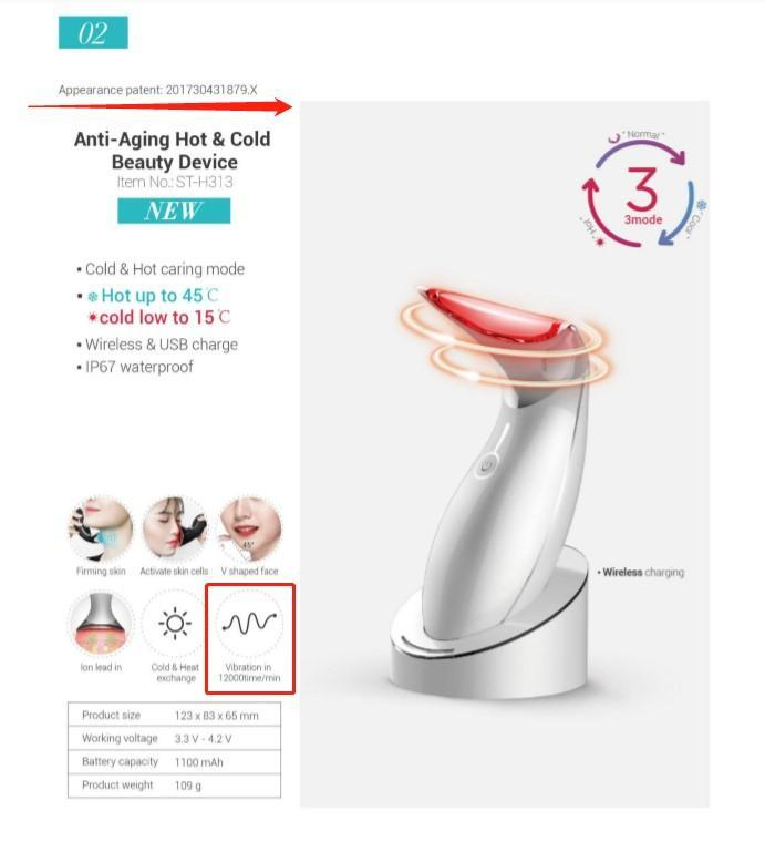 PATENTED 3D Face & Neck Care Hot & Cold Mode Beauty Device. High Vibration Frequency 12,000x/min (AU Stock) - iAgeless Beauty