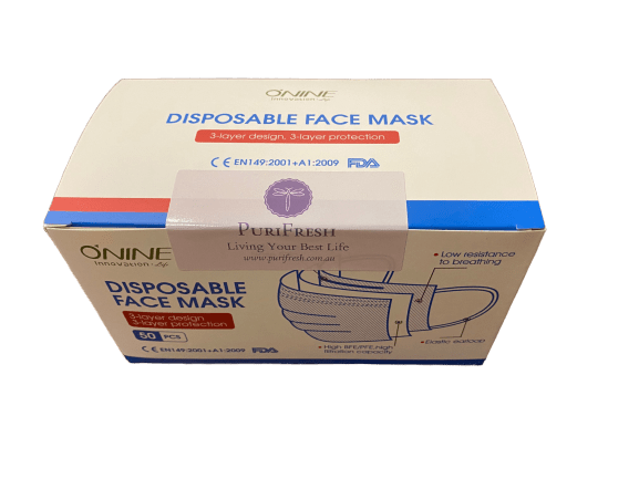Box of 50 Pcs 3-Ply Disposable Protective Face Mask (Melbourne AU Stock ~ 24-Hrs Dispatch) - iAgeless Beauty