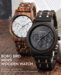 BOBO BIRD P19 Wooden Mens Quartz Watches Date Display Business Watch Man Ebony