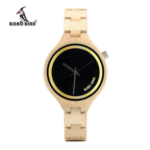 BOBO BIRD WP16 Wood Women Watch at 4 o'clock Slant LOGO Wooden Band Exquisite Quartz Watches