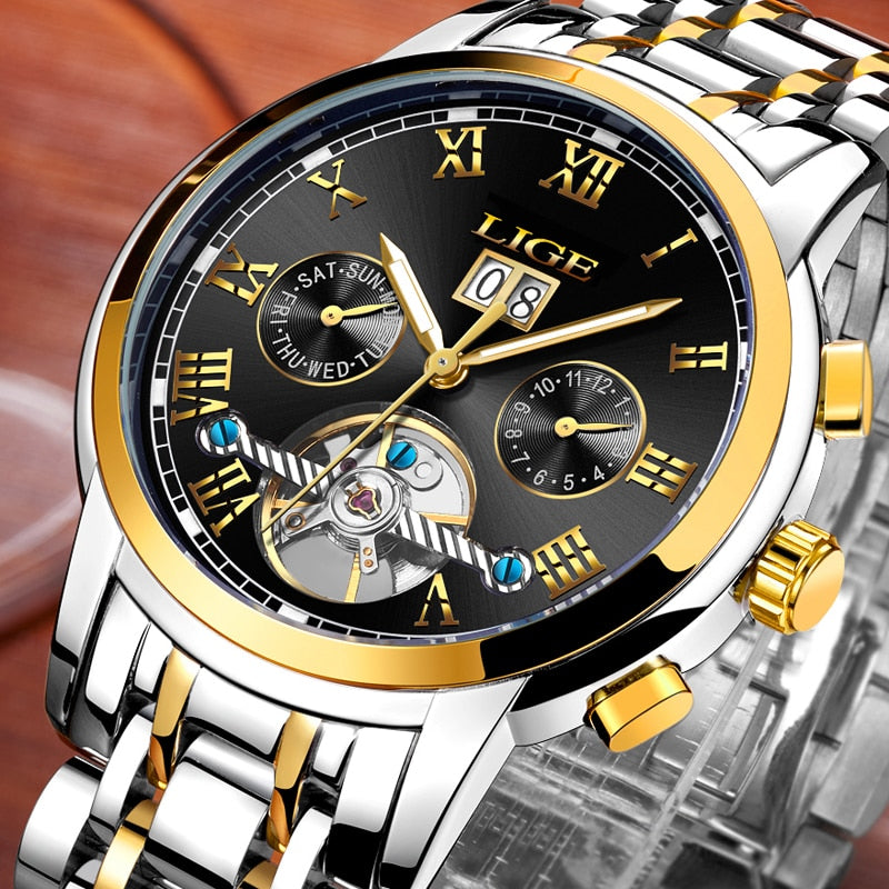 LIGE Luxury Business Waterproof Automatic Mechanical Watch Mens Full Steel Military Clock Relogio