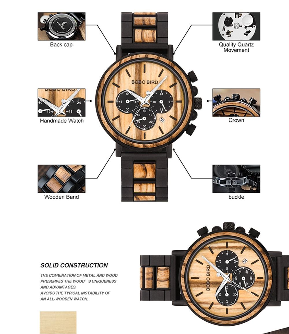 BOBO BIRD Wooden Men Watches Relogio Masculino Top Brand Luxury Stylish Chronograph Military Watch