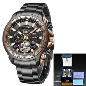 LIGE Sapphire Glass Steel Sport Mechanical Watch Fashion 100M Waterproof Men Watches